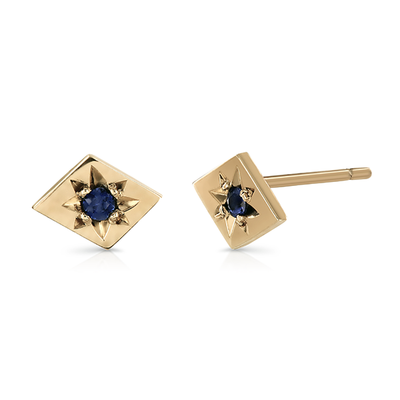 EC One Ellie Air Recycled Kite Gold Sapphire Stud Earrings