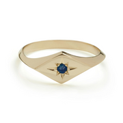 EC One Ellie Air Recycled gold kite ring blue sapphire