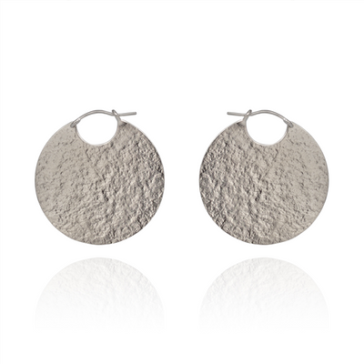 Paillette Disc Sterling Silver Large Hoop Earrings