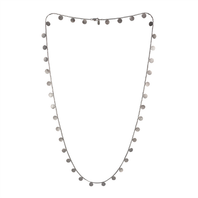 Paillette Long Disc and Bead Sterling Silver Necklace