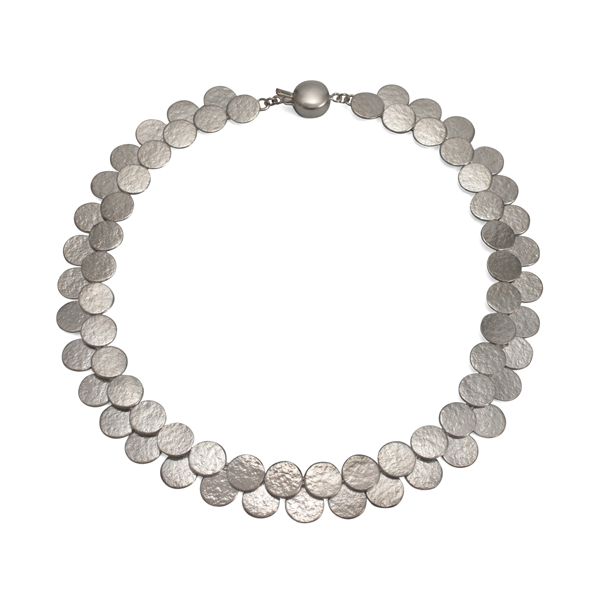 Paillette Double Row Disc Sterling Silver Collar