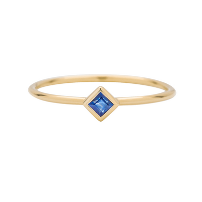 Princess Cut Blue Sapphire Gold Ring