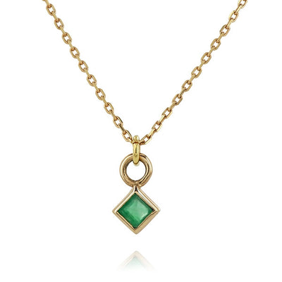 Princess Cut Emerald Necklace