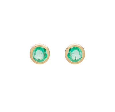 EC One Metier Round Emerald Gold Studs Pair