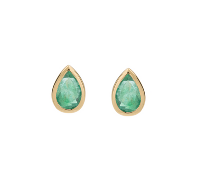EC One Metier Pear Shaped Emerald Studs Gold