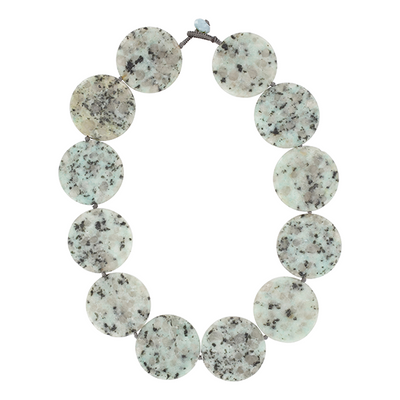 Speckled Green Agate Disc Necklace
