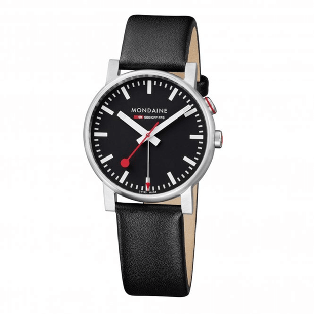 Evo Watch Alarm 40mm case Black dial Black Leather strap