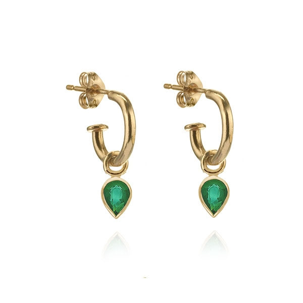EC One Metier Pear Shaped Emerald Gold Hoops Pair