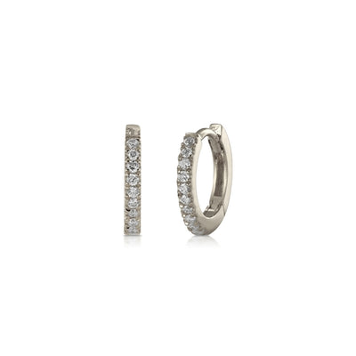 Tiny Diamond White Gold Hoop Earrings Pair