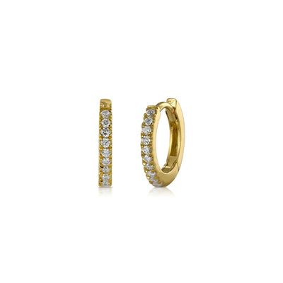 Tiny Diamond Yellow Gold Hoop Earrings