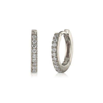 Small Diamond White Gold Hoop Earrings