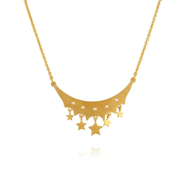 Stars and Sapphires Curve Gold Necklace