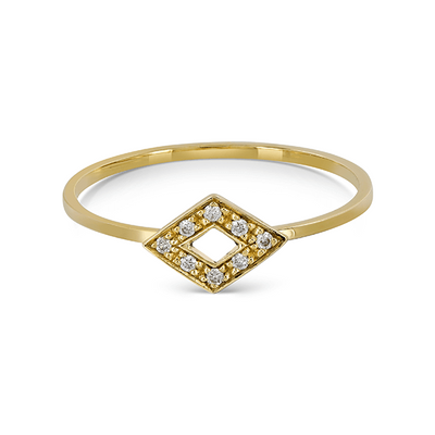 Gold Feather Diamond Stacking Ring