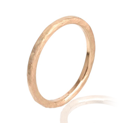 "EC One ""Alice"" Hammered Rose recycled Gold Wedding Ring"