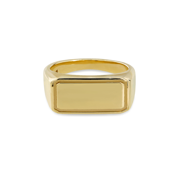 EC One Rectangular recycled Gold Signet Ring engrave