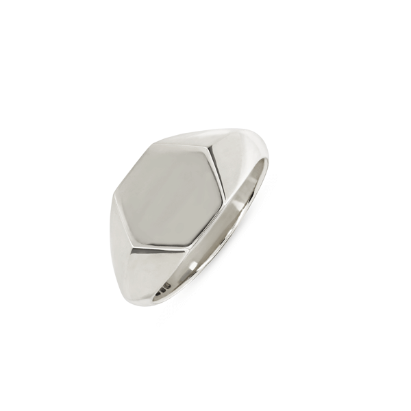 Hexagonal Silver Signet Ring