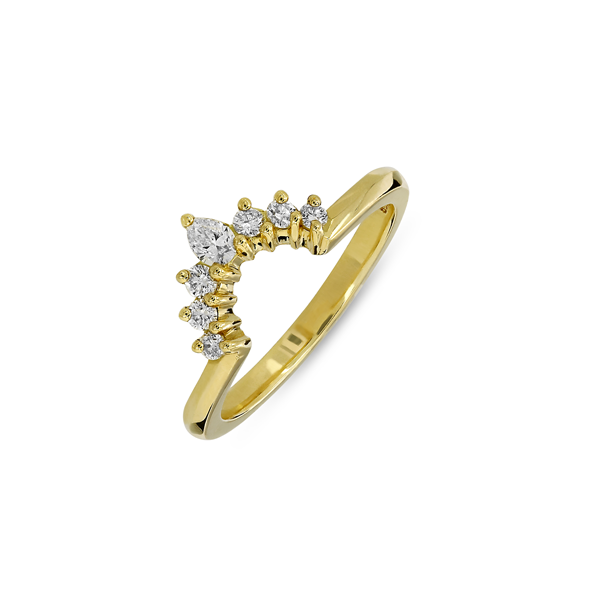 Tiara Gold Diamond Shaped Wedding Ring