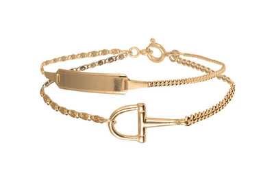 Double Chain Bar and Stirrup Bracelet