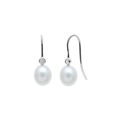White Pearl and Diamond Hook Earrings