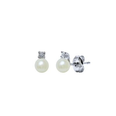 White Pearl and Diamond Studs