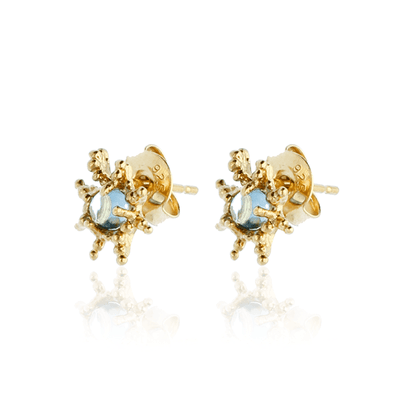 Mini Star Studs with Blue Topaz