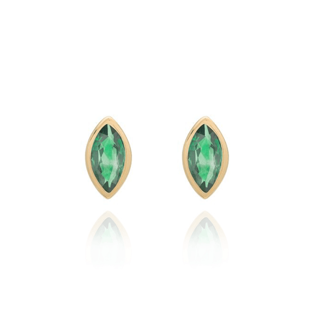 Marquise Shaped Emerald Studs Gold Pair