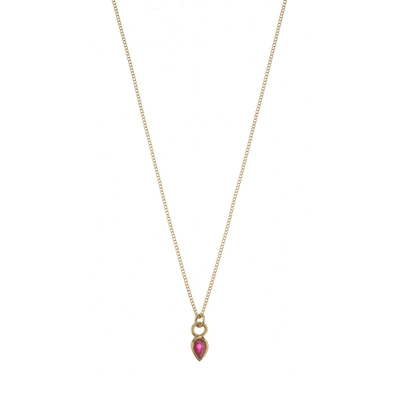 EC One Metier Gold Necklace with Pear Shaped Ruby