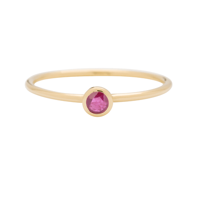 Gold Round Ruby Stacking Ring