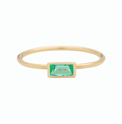 Horizontal Baguette Emerald Gold Ring
