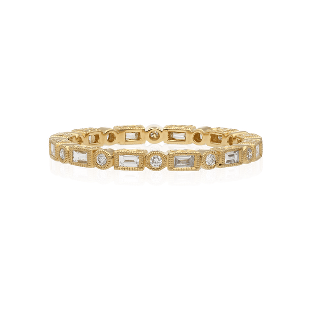 EC One Ungar and Ungar Baguette and Round Diamond Eternity Wedding Gold Ring