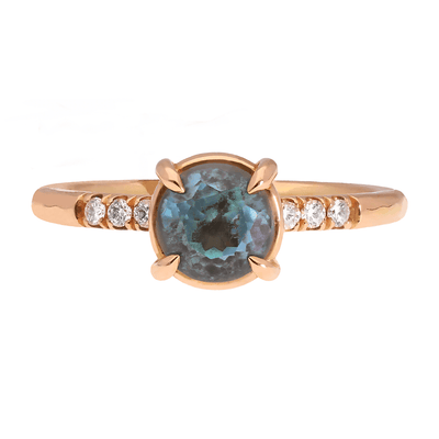 Alice Teal Sapphire and Diamond Engagement Ring Rose Gold