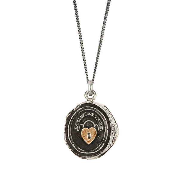 Silver Pendant with Gold 'Heart Lock' Symbol