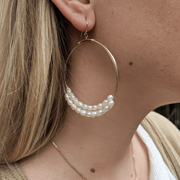 Large Hoops with White Pearls