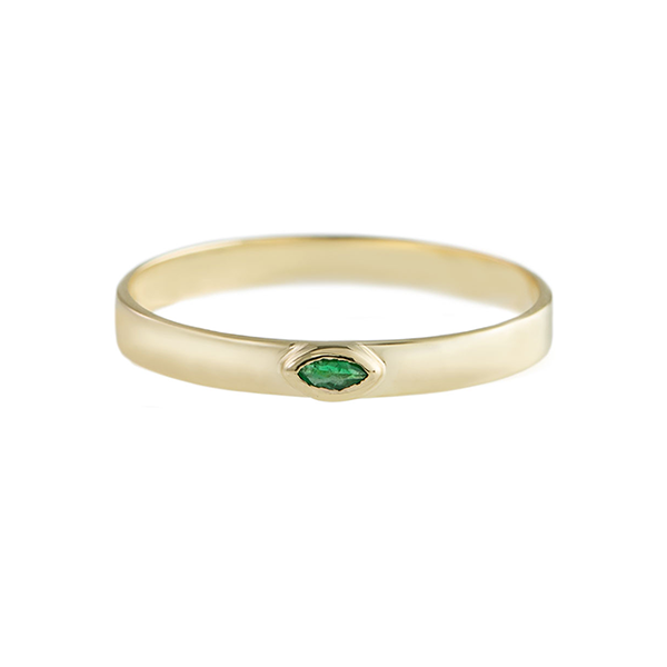 Gold Stacking band with Emerald Marquise