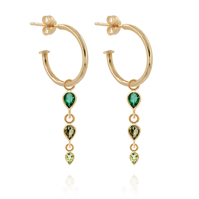 Emerald, Tourmaline & Peridot Hoop Earrings