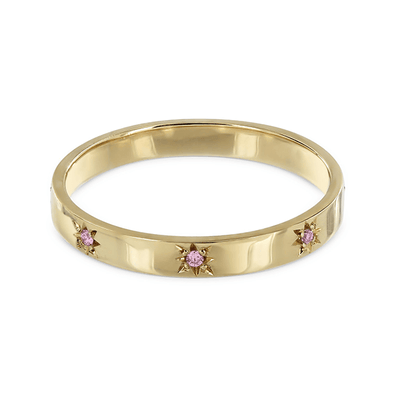 Sunburst Eternity Ring Yellow Gold and Pink Sapphires