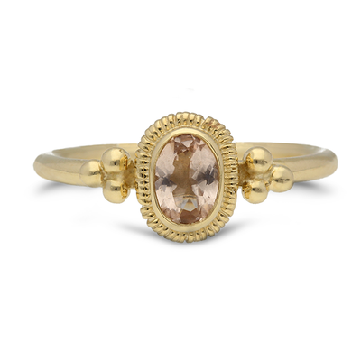 "EC One Helene Turbe Morganite ""Victor"" Ring in Yellow Gold"