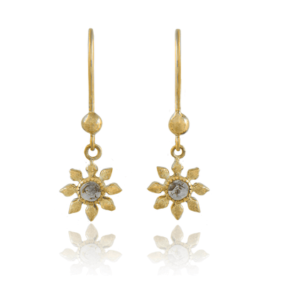 EC One Natalie Perry Diamond Flower Gold Hook Earrings