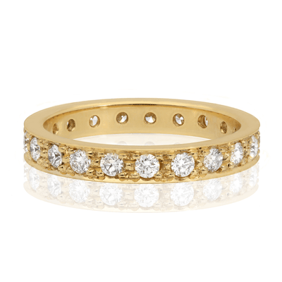 "Wide ""Emma"" Diamond Yellow Gold Eternity Ring"