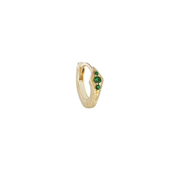 Single Emerald Petite Point Huggie Earring