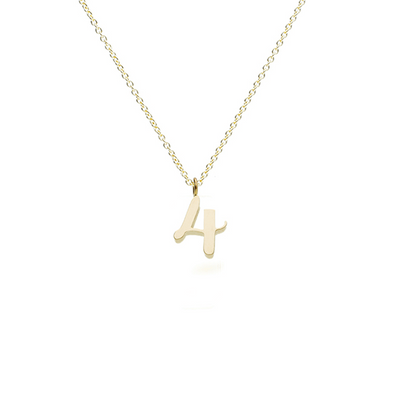 "EC One recycled Gold Number ""4"" charm pendant necklace"