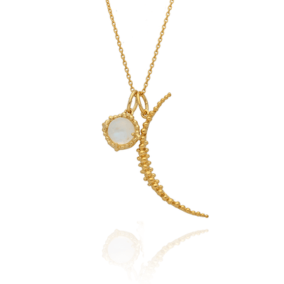 Large Crescent Moon & Round Labradorite Gold Necklace