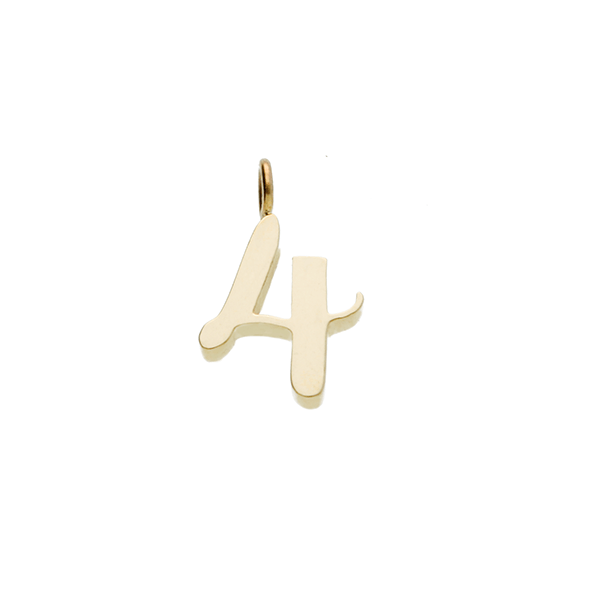 "EC One recycled Gold Number ""4"" charm pendant"