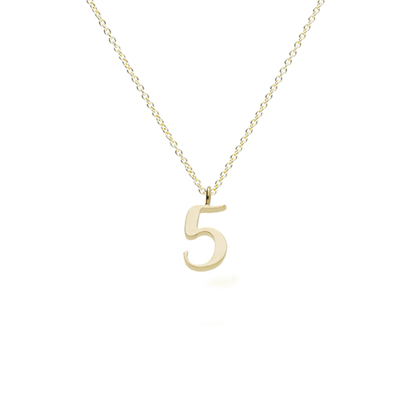 "EC One recycled Gold Number ""5"" charm pendant necklace"