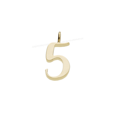 "EC One recycled Gold Number ""5"" charm pendant"