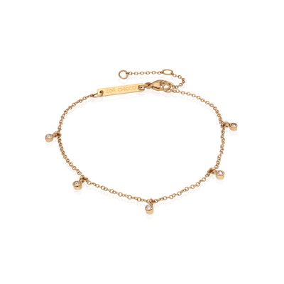 Zoe Chicco Gold Bracelet with 5 Dangling Diamonds
