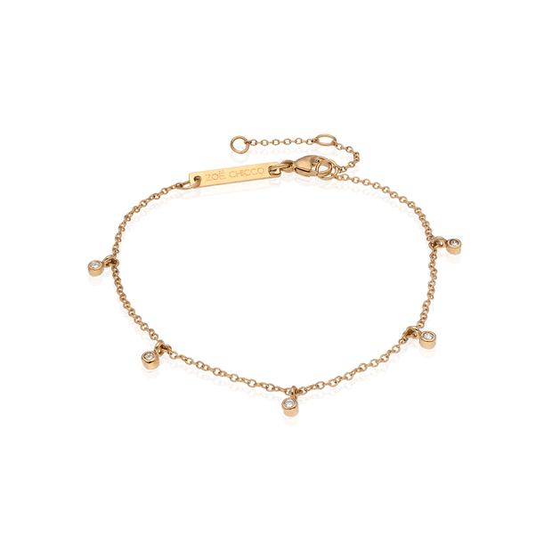 Gold Bracelet with 5 Dangling Diamonds