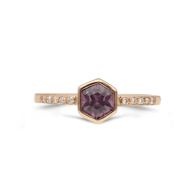 Ember Pink Spinel & Diamond Ring 18ct Rose Gold