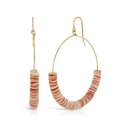Coral Threaded Gold Hoop Earrings