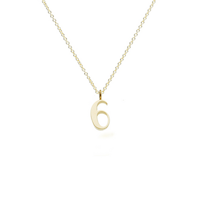 "EC One recycled Gold Number ""6"" charm pendant necklace"